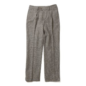 Millspaugh Color Tweed One Tuck Herringbone Wool Pants Melange Gray