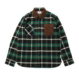 Fariview Cotton Corduroy Flannel Check Shirts Green Black