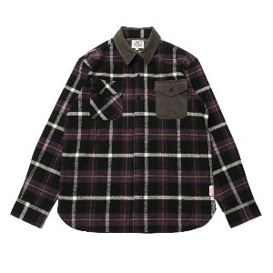 Fariview Cotton Corduroy Flannel Check Shirts Purple Black