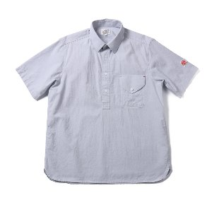Flin Chambray Short Sleeve Pullover shirts Blue Gray_Japan Fabric