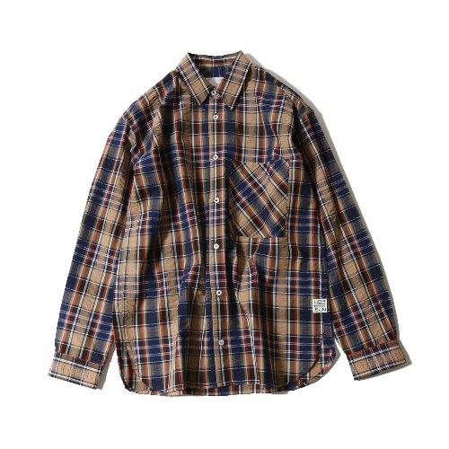 20SS Maili Seersucker Multi Check Loosefit Shirts Navy