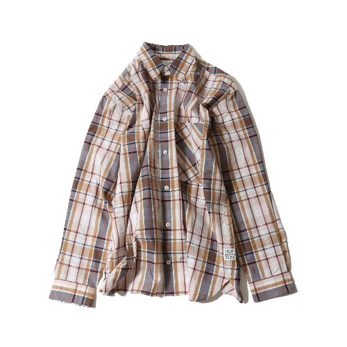 20SS Maili Seersucker Multi Check Loosefit Shirts Beige
