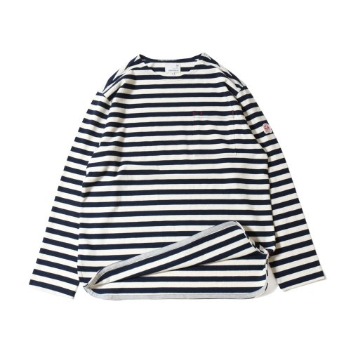 20SS Union Pocket Stripe Seasonal T-shirts Navy Cream