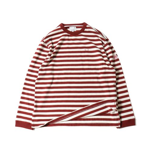 20SS Powell Pocket Stripe Seasonal T-shirts Purple Cream