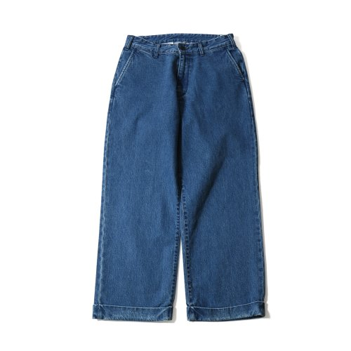 20SS Heights Wide Loose Turnup Denim Pants Light Navy