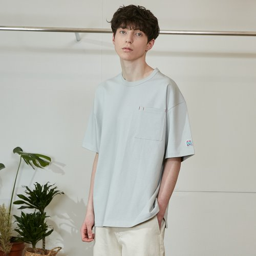 3차 재입고_20SS Lawrence Overfit Short Sleeve Pocket T-shirts Light Gray