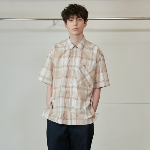 20SS Ophir Various Multi Check Loosefit Shirts Beige
