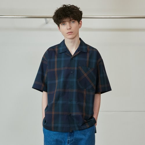 20SS Ophir Various Multi Check Loosefit Shirts Navy