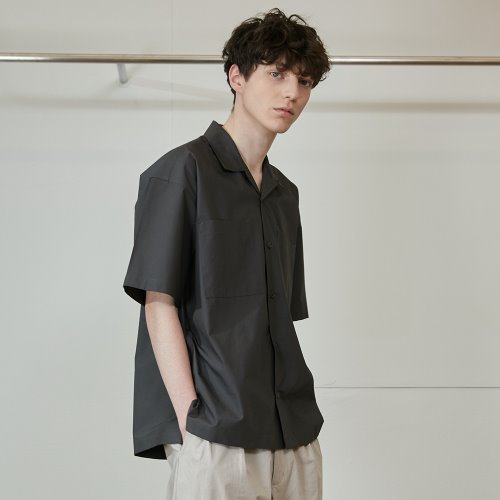 20SS Joshua Extra Typewriter Solid Open Collar Shirts Charcoal Gray
