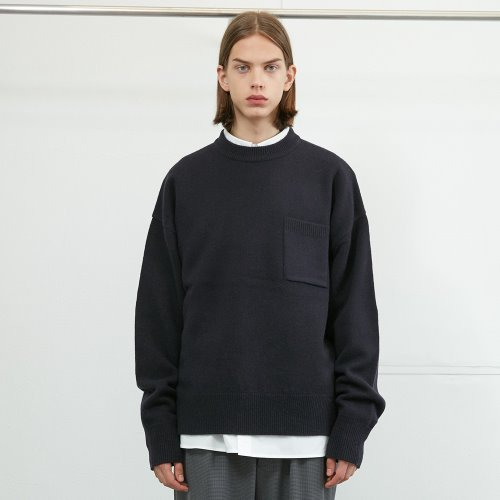 20FW Northyork Crewneck Slit Heavy Knit Seasonal Ocean Navy