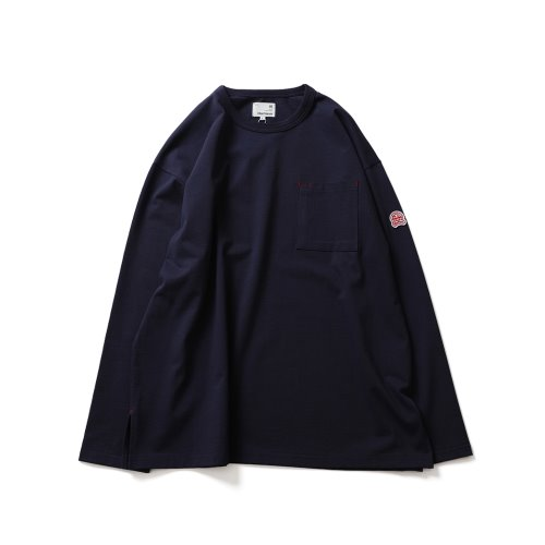 21SS Lawrence Overfit Long Sleeve Pocket T-shirts Navy