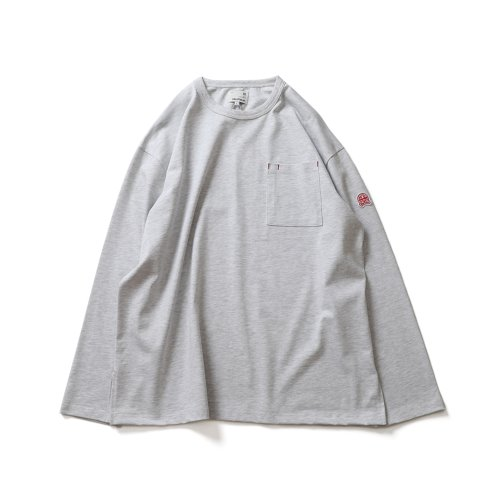 21SS Lawrence Overfit Long Sleeve Pocket T-shirts Light Melange Gray